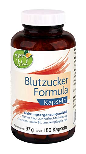 Kopp Vital Blutzucker Formula | 180 Kapseln | 97 g | Chrom | Reinsubstanzen-Prinzip | Vitaminen | Mineralstoffe | B-Komplex | Blutzuckerspiegel