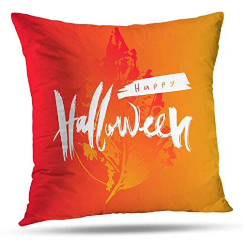 July Happy Fall Halloween kussensloop, Throw Pillow Covers, Happy Halloween Kleurrijke tekst met