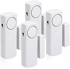 kwmobile 4x Alarma para puerta y ventana - Protección antirrobo inalámbrica con baterías - Alarmas con sensor - Sistema de seguridad para el hogar