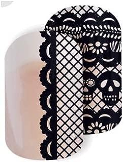 Papel Picado - Jamberry Nail Wraps - Half Sheet - Dia De Los Muertos - Black Skulls on Clear