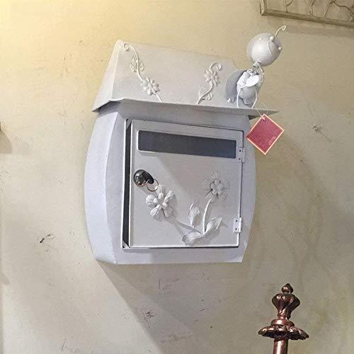 Brievenbus Klassieke Villa Box Tuin Antiek Wandhangslot Brievenbus Postvak Waterdicht Outdoor Brievenbus Postvak Beveiliging mailbox Kleur: wit
