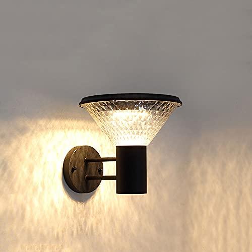 YHQSYKS Aplique Solar LED Luz Solar de Control de luz Inteligente Aplique Solar Tricolor Luz Exterior de Aluminio Iluminación Exterior LED Desde el anochecer hasta el Amanecer