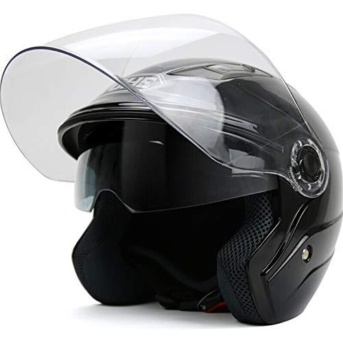 Casque de moto d'hiver Casque de voiture électrique à double lentille pour dames, Four Seasons, demi-casque chaud (Color : Black-XXL)