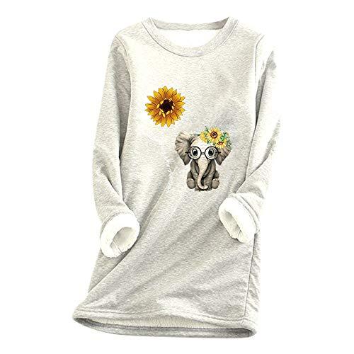 Xmiral Pullover Kleid für Damen Weihnachten Dickes Fleece Innen Warm O-Ausschnitt Unterwäsche Long Tops Sweatshirt(c-Weiß,M)