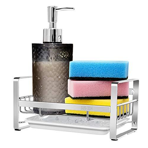 Febbi SUS304 Edelstahl-Spülbecken-Organizer für Seife, Bürste und Schwamm, Spülbecken-Abtropffläche mit herausnehmbarer Ablaufwanne und Anti-Rutsch-Pads