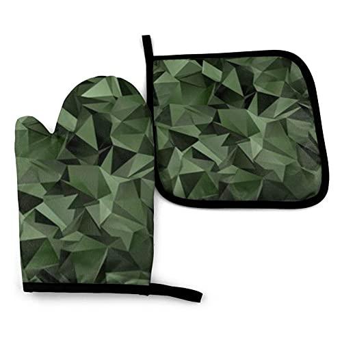 BONRI Triángulos 3D Resumen Diseño de Fondo Manoplas de Horno y Portavasos Conjuntos de Guantes de horno y agarraderas con poliéster reciclable antideslizante guantes de cocina para cocinar y asar