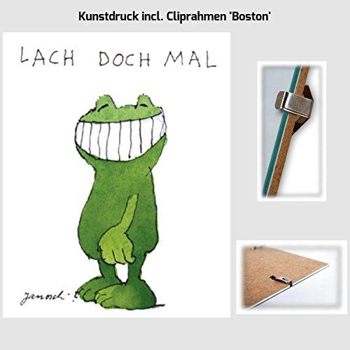 Kunstdruck Janosch - Lach doch mal 40 x 30 cm mit Cliprahmen 'Boston'
