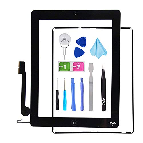 Tefir zwart vervangend scherm voor iPad 4 A1458 A1459 A1460, iPad4 Touch Screen Digitizer Front Glass Assembly -Inclusief Home Button+Camera Bracket+Voorgeïnstalleerde lijm+Frame+Tools Kit