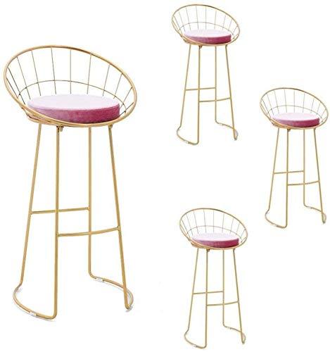 GUODT Contemporary Dining Stools Barstools Set, Romantic Pink Velvet Seat, Breakfast/badroom Bar stool (Color : 75cm, Size : Set of 4)