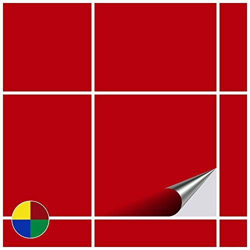 FoLIESEN Adesivi per Piastrelle per Bagno e Cucina–20x 20cm–Rosso Opaco–10Adesivi per Piastrelle per Muro di Piastrelle