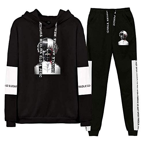 Anime Tokyo Ghoul Hoodie Pants 2 Pieces Set Kaneki Ken Sweatshirt Sweatpants Cosplay Costume Sportswear Outfit