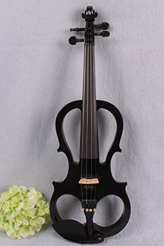 Yinfente 4/4 Violin Metallic Black Electric Violin Professional Solid wood Silent Violin Case Active pickup