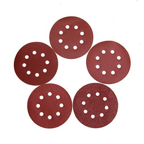 Luckyway 100-Piece Sandpaper Set, 5 Inch 8 Hole Hook and Loop Adhesive Sanding Discs Sandpaper for Random Orbital Sander 60 120 180 240 320 Grits