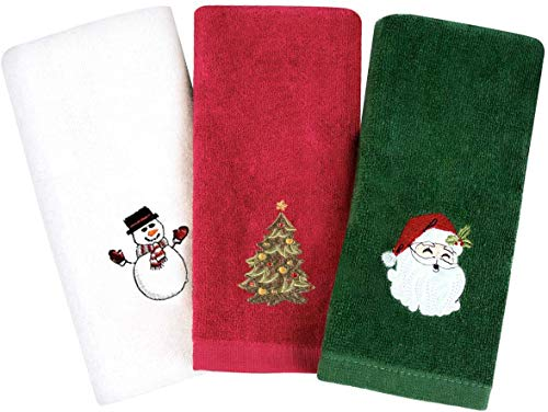 Afaris Christmas Hand Towels, Pure Cotton Towels Xmas Claus Snowman Trees Bathroom Kitchen Wash Basin, Drying Home and Kitchen 12 x 18 inch (Set of 3: Red, White, Green) (3 Color)