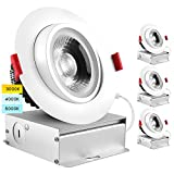 Luxrite 4 Inch Adjustable Gimbal Eyeball LED Recessed Lighting Kit, 3 Color Selectable 3000K   4000K   5000K, 11W=75W, 1000 Lumens, Dimmable Canless LED Downlight, IC Rated, Damp Rated (4 Pack)