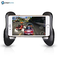 Mobile game controller grip with unique holding method, which pefectly fit for universal smartphone/ iPhone / iPad / Android tablet / Samsung. Expandable to fit any mobile, Spring -loaded expansion of this holder lets it grip anything from small 4 in...