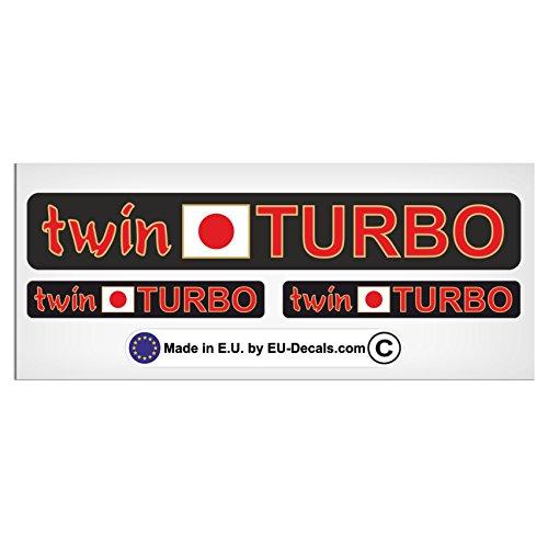 MioVespa Collection Aufkleber Twin Turbo und japanische Flagge mit rot/goldenen Buchstaben, laminiert, hochwertig, 3 Stück