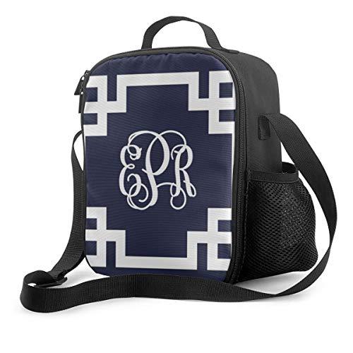 Bolsa térmica para el almuerzo, diseño de llave griega, color azul marino y blanco