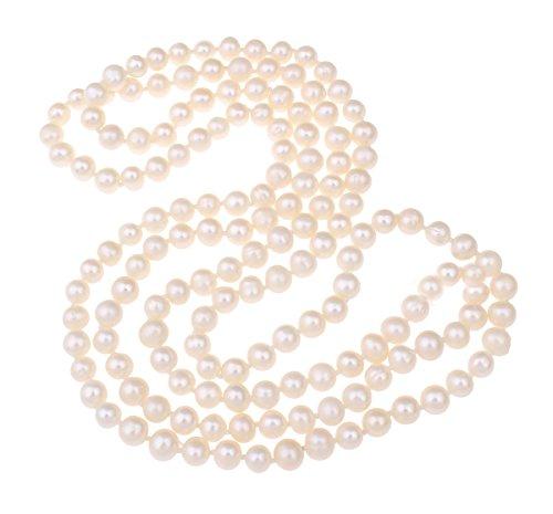 TreasureBay Lunga Collana di Perle d'Acqua Dolce Donna 160cm