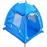 OLizee Breathable Washable Pet Puppy Kennel Dog Cat Folding Indoor Outdoor House Bed Tent (M, Blue)