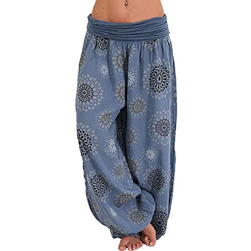 Nuevas Mujeres Moda Boho Pantalones Anchos de Pierna Ancha Pantalones Estampados Florales Ocasionales Pantalones Sueltos Vintage Pilates Pantalón de Cintura elástica