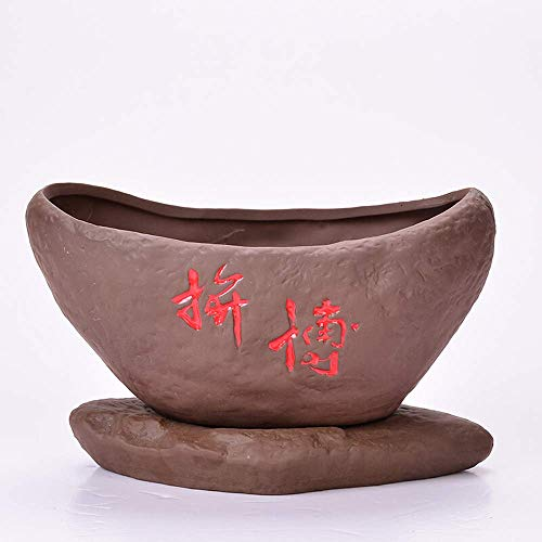 CHUTD Simple Modern Round Chinese Style Ceramics Purple Sand Flower Pot Orchid Succulent Plants Plant Tray Potted Decoration Small Vase Ceramic Creative Gardening