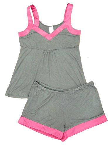 Covington Womens Gray & Pink Pajamas Lightweight Pajama Set Shorts & Tank Large