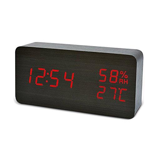 FiBiSonic Wecker Digitale Tischuhr LED Datum Feuchtigkeit Temperatur Holz Standuhr Schwarz Rot