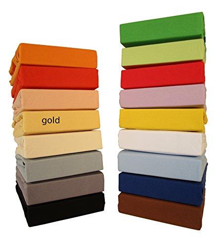 Dukal Spannbettlaken 180x200-200x220 cm, Spitzenqualität mit ca. 250g/m², Farbe Gold