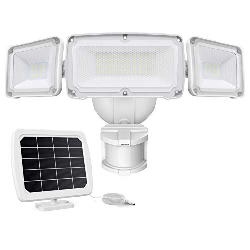 LEPOWER 1600LM LED Solar Security Lights Motion Outdoor, Super Bright Solar Motion Sensor Light, 5500K White Light, IP65 Waterproof Outdoor Flood Solar Lights with 3 Adjustable Head for Yard, Garage