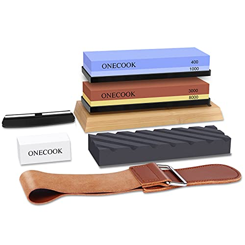 Knife Sharpening Stone Set, ONECOOK Whetstone 400/1000 3000/8000, Complete 4 Side Grit Wet Stone with Non-slip Bamboo Base, 2 Coarse Flattening Stones, Angle Guide and Leather Strop