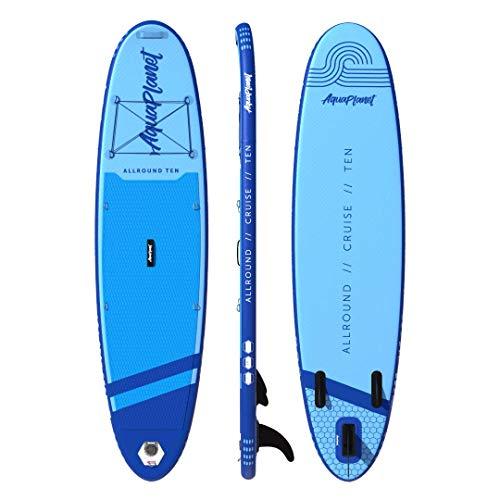 AQUAPLANET ALLROUND 10 | SUP Aufblasbares Stand Up Paddel Brett Surfbrett Paket | Verstellbares Paddel | Tragerucksack | Dual-Action Pumpe | Knöchel-Sicherheitsleine