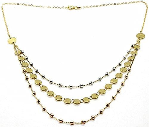 Collar de oro amarillo, blanco y rosa de 18 quilates, 750, de tres hilos con discos y esferas, longitud de 42 cm, fabricado en Italia