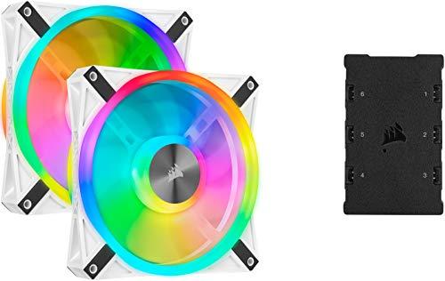 Corsair iCUE QL140 RGB, Ventilador LED RGB , 68 LED RGB Direccionables Individualmente, De Hasta 1250 RPM, Silencioso, Amortiguadores Antivibraciones, Paquete doble con Lighting Node CORE , Blanco