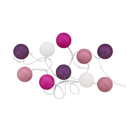Butlers In The Mood Cotton Ball LED Deko Lichterkette mit 10 Kugeln in Weiß - Lampions aus Baumwolle, 300cm Länge