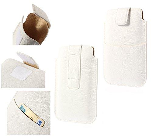 DFVmobile - Etui Tasche Schutzhülle aus Kunstleder mit Klettbandverschluss & Vordertasche für Haier Ginger G7 - Weiß