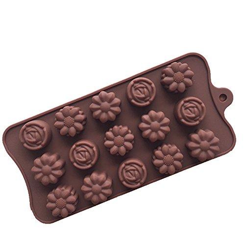 Générique moules à gâteaux en Silicone - 3 Types Fleurs par Moule - pour Fabrication de glaçons, chocolats et décorations pour gâteau,Chocolat