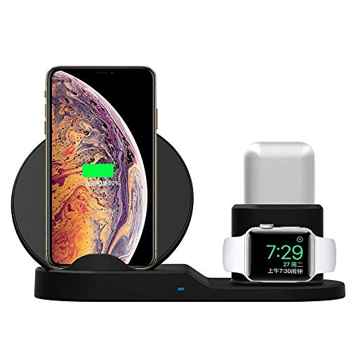 "Carregador Wireless 3 em 1 Qi Indução 10W/7W - Apple Watch/Airpod/iPhone X/XR 6,1"""