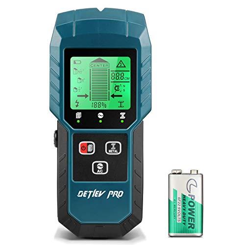 DETLEV PRO Ortungsgerät 5 in 1 Wand Scanner Multifunktional Detektor Stud Finder mit LCD Anzeige für AC Stromleitung Holz Metall Magnetische