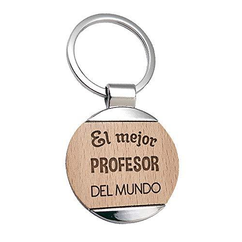 Llavero Profesor El Mejor Profesor del Mundo - Llavero de Metal Grabado en Madera - Regalo para Profesores Personalizado