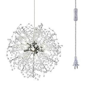 HMVPL Modern Chandeliers with Plug in Cord, Crystal Sputnik Firework Swag Hanging Lights LED Pendant Lighting Fixtures for Bedroom Kitchen Island Entryway Dining Room Hallway