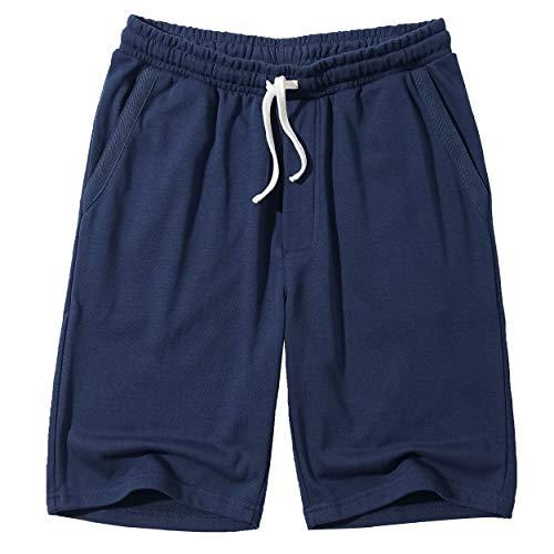 MUSE FATH Mens Cotton Casual Elastic Waist Drawstring Loose Fit Knit Pajama Shorts-Navy Blue-L