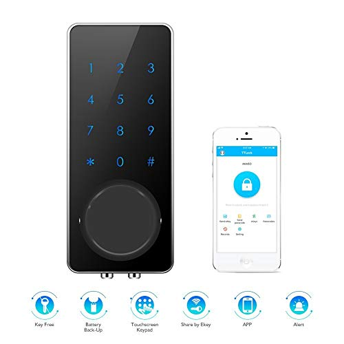 AKASO Smart Lock, Smart Electronic Door Lock APP Code Touch Screen Keypad Deadbolt Entrance Smart Electronic Digital Door Lock with Key Remote Keypad for Home Hotels Apartment