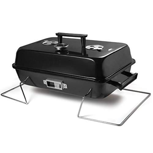 FEANG Tragbarer Holzkohlegrill mit Deckel, Klapptisch-Tabletopgrill BBQ-Grillraucher für Outdoor-Kochen Camping Picknick-Patio-Hinterhof (Color : Black)