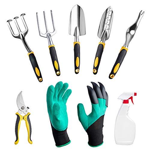 Gartenwerkzeugset , 9-teiliges Gartenwerkzeugset aus Aluminiumlegierung für Frauen Männer - Schaufel , Kelle, Grubber, Astschere, Geschenkset für Gartenbedarf