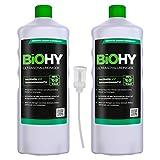 BiOHY Detergente a ultrasuoni (2 bottiglie da 1l) + Distributore | Pulizia intensiva e delicata di occhiali, prodotti dentali, oro, monete e gioielli (Ultraschallreiniger)