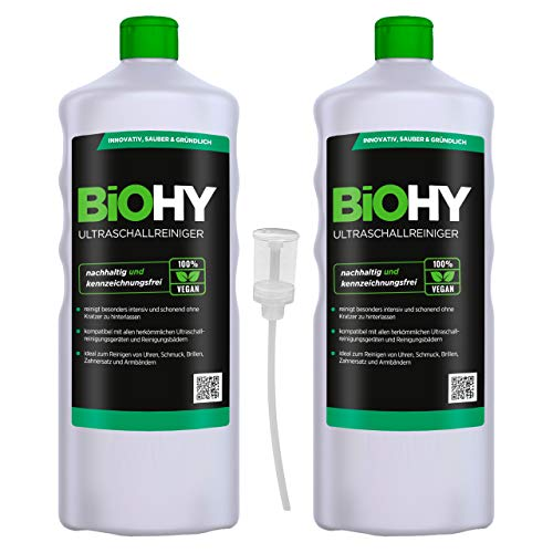 BiOHY Ultrasonic Cleaner (2 x 1l Bottle) + Dispenser   Intensive and Gentle...