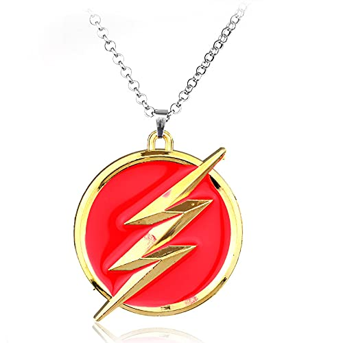 Niche Lightning Logo Collar Colgante De Moda Superhéroe American Comic Red Gold Lightning Mujer Coche Regalo