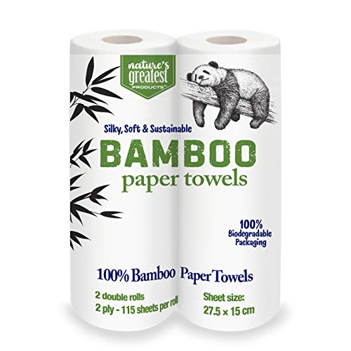 Nature's Greatest, 100% Bamboo & Sugarcane Kitchen Paper Towels, 2 Ply, 115 Sheets, 2 Rolls, Packaging May Vary
