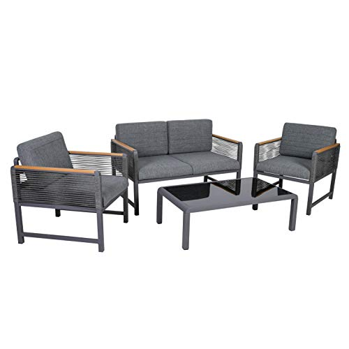 greemotion Nevi Set mobili da Giardino, Grigio Scuro/Grigio/Color Legno